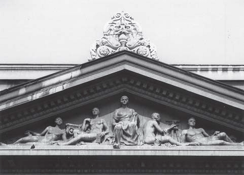 """Tympanum with composition of """"Architectural technique"""" (photo: S. Negovanovic, collaborator of the Institute)"""