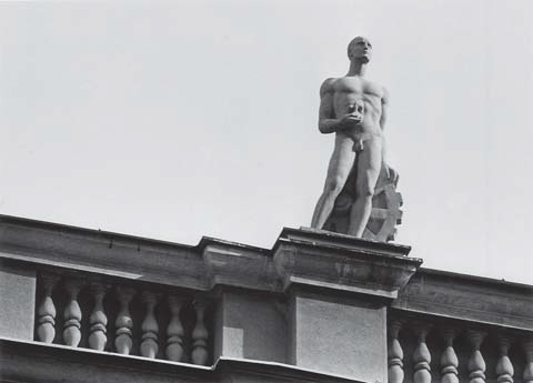 Sculpture of man with industrial wheel (photo: S. Negovanovic, collaborator of the Institute)