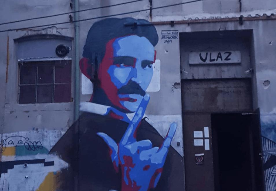 tesla mural belgrade